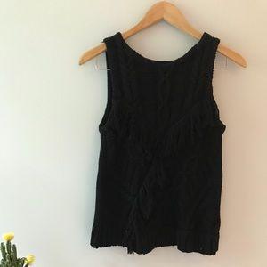 Antonio Melani Fringed Black Sweater Vest Shirt S